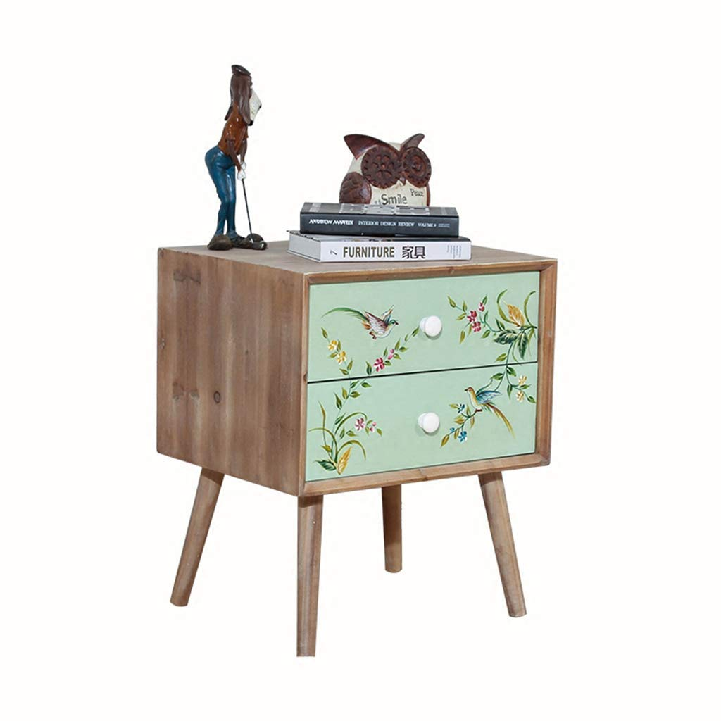 Bedside table Dressing Table Solid Wood Painted Storage Cabinet Bedside Cabinet Simple Solid Wood Storage Cabinet (Color : Brown, Size : 484057cm)