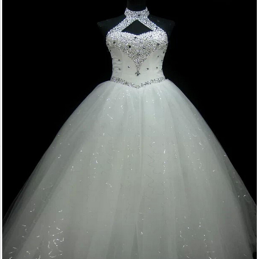 Ne032 High Quality Sexy Halter Elegant White Lace Wedding Dress