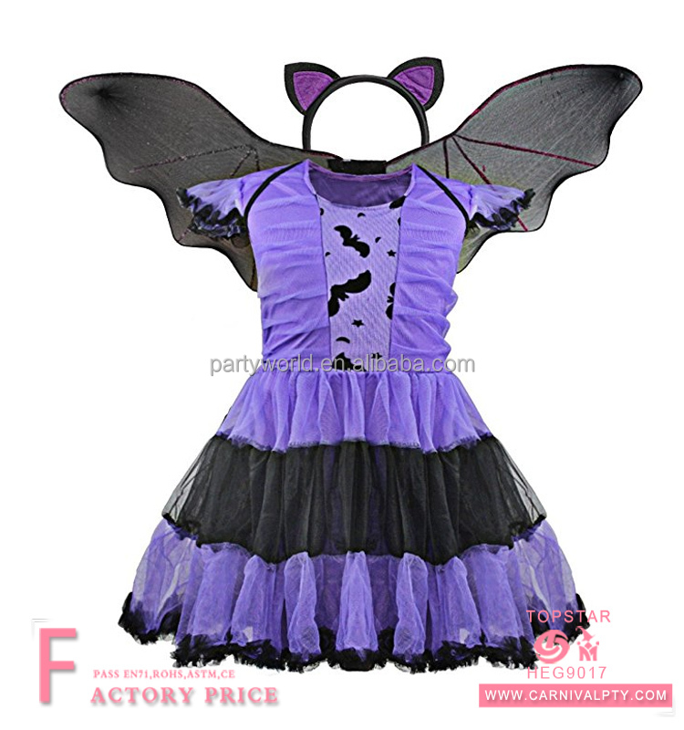 Western Style Halloween Christmas Costume Purple Bat Girl Suit Dress Lovely Jacobs Kid Bat Princess Dress Wings with Headband