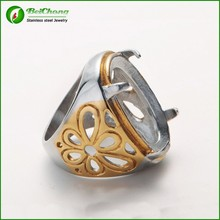 2015 titanium indonesia stainless steel ring for natural gemstone IN STOCK
