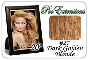 "Pro Extensions 20"" x 39"" #27 Dark Golden Blonde 100% Clip on in Human Hair Extensions"