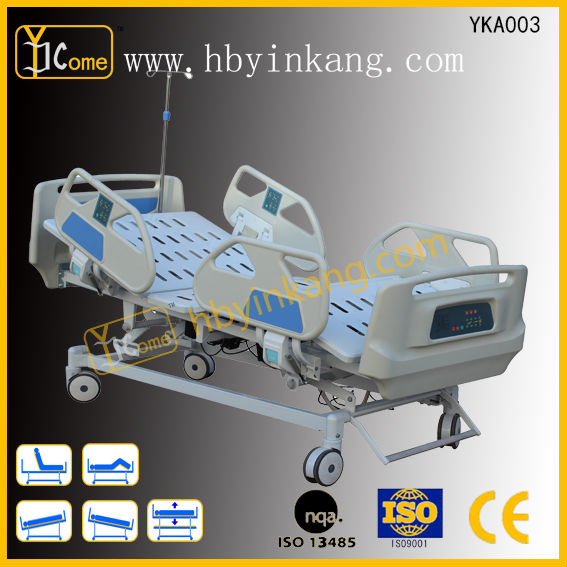YKA003 four Motors Five Function Electric Hospital Folding Bed with control panel built-in railing