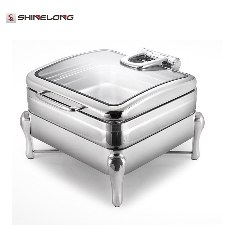 Luxury Buffet Equipment and Supplies /Square Single Pan Chaffing Dishes Cahfers  with Legs and Glass Window for Catering