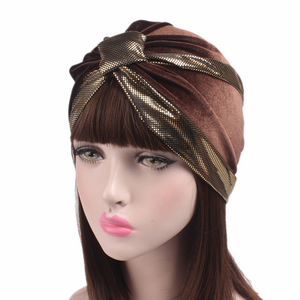 High Quality comfortable women turban Muslim hat with paillette