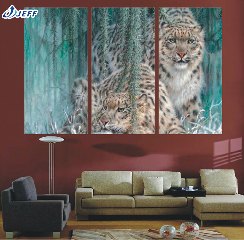 3 group large hd forest cheetah canvas print painting for living room wall art picture. Black Bedroom Furniture Sets. Home Design Ideas