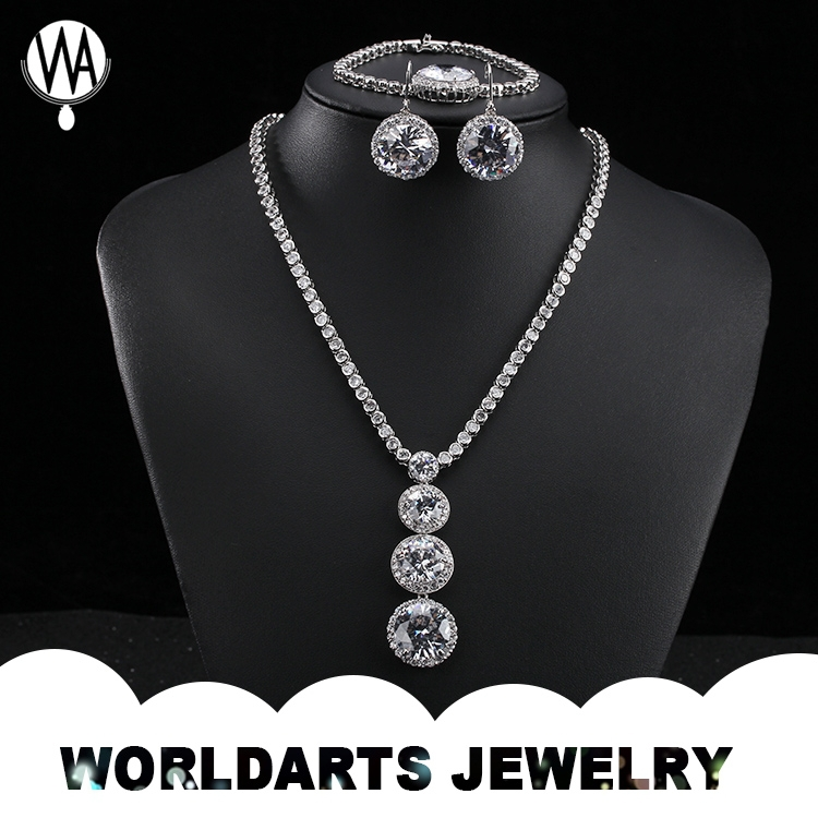 White Gold Plated CZ Stone Bridal Jewelry Sets