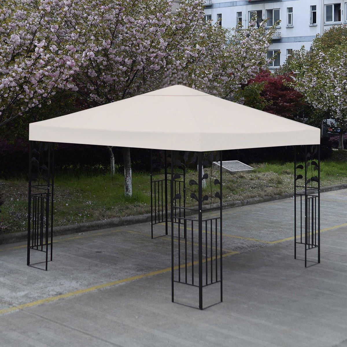 New 10u0027 X 10u0027 Gazebo Top Cover Patio Canopy Replacement 1 Tier Beige