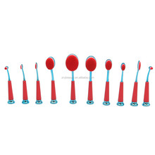 New red oval makeup brushes cosmetic tools for basic make up