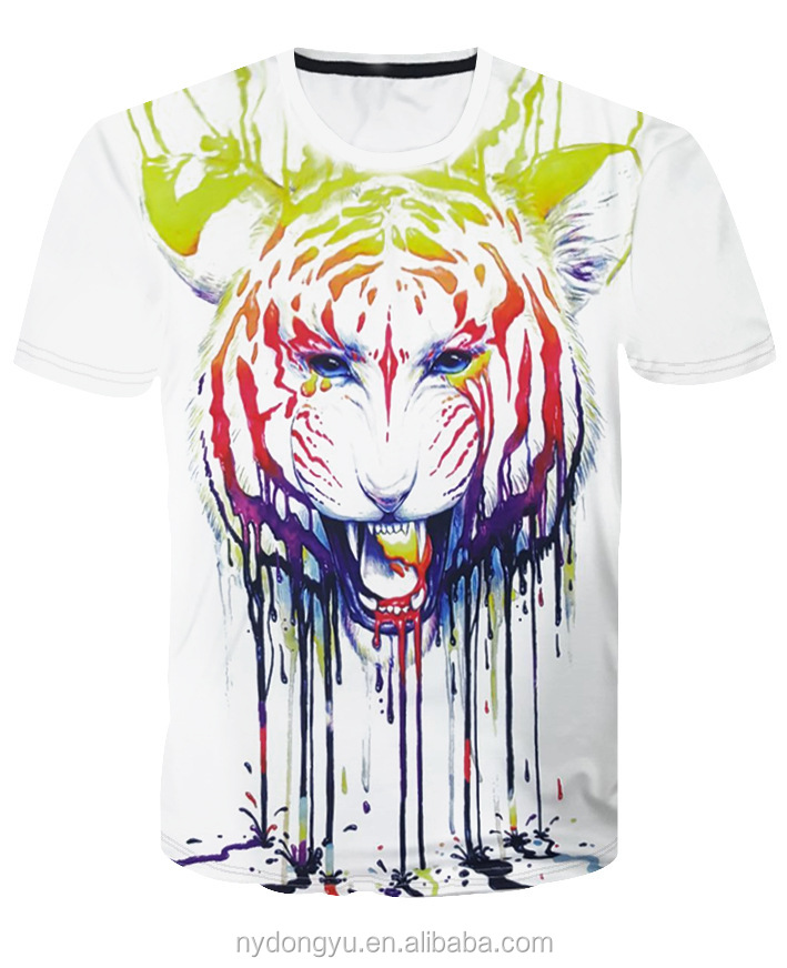 men multi design lion paint 3d printed t shirts ni cool 3d white lion casual sports t shirts tee