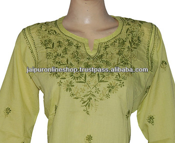 hand embroidered chikan tops