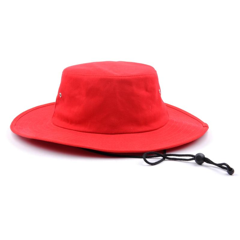 f4f4de9786bce Outdoor Red Bucket Hats Plain Short wide Fishing Short Brim Cap With String