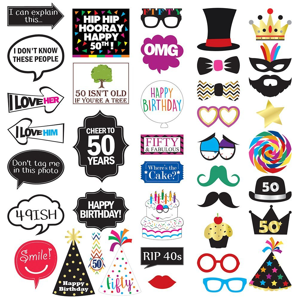 Get Quotations 50th Birthday Photo Booth Party Props