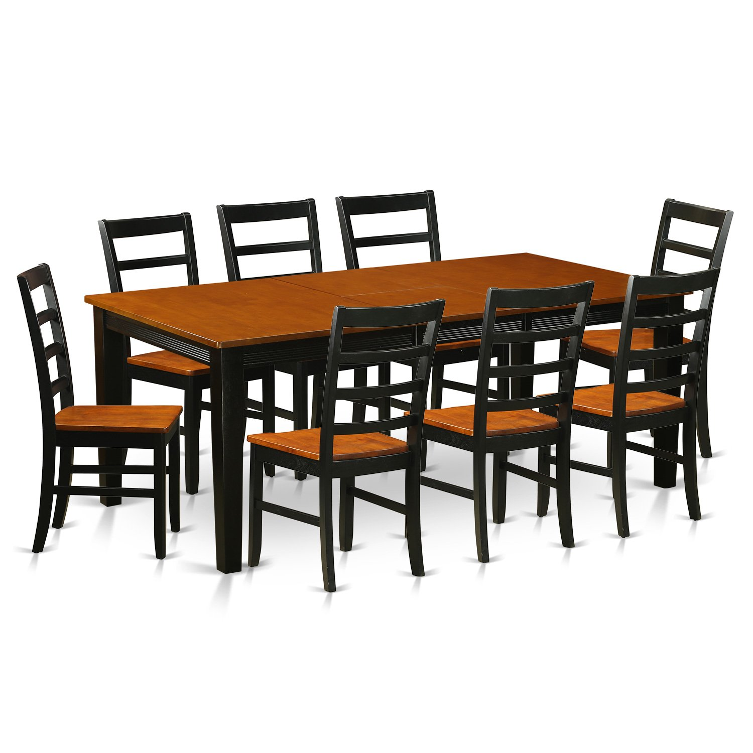 East West Furniture QUPF9-BCH-W 9 Piece Dining Table with 8 Wooden Chairs Set