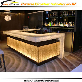 Genial U Shaped Golden Lighting Decorated Design Corain Solid Surface Lighted Bar  Tops