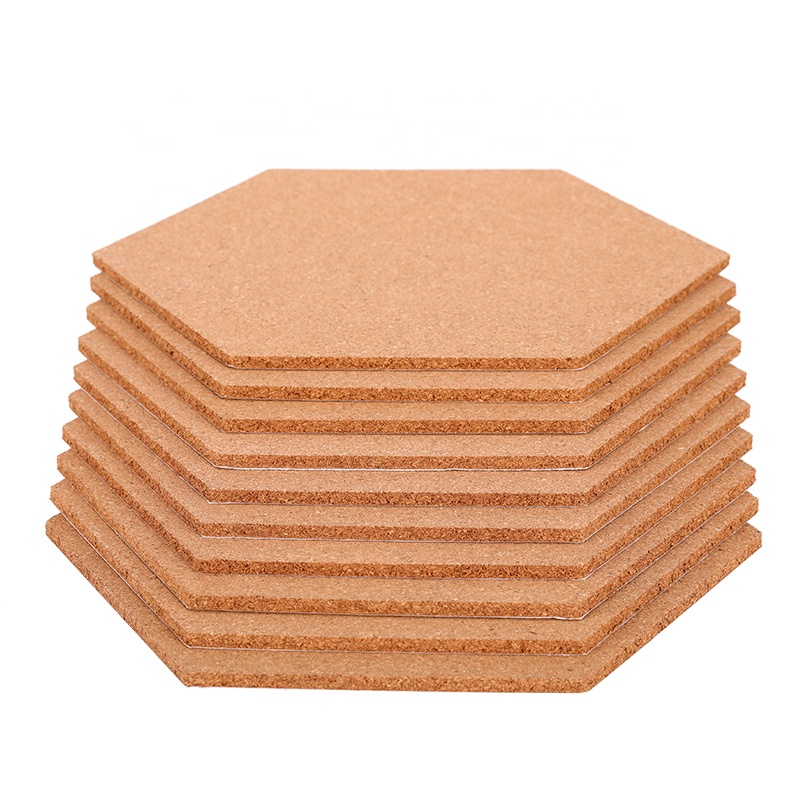 Hot Dijual 6 Mm Ketebalan Hexagon Buletin Pesan Memo Notic Cork Sheet Ubin Papan