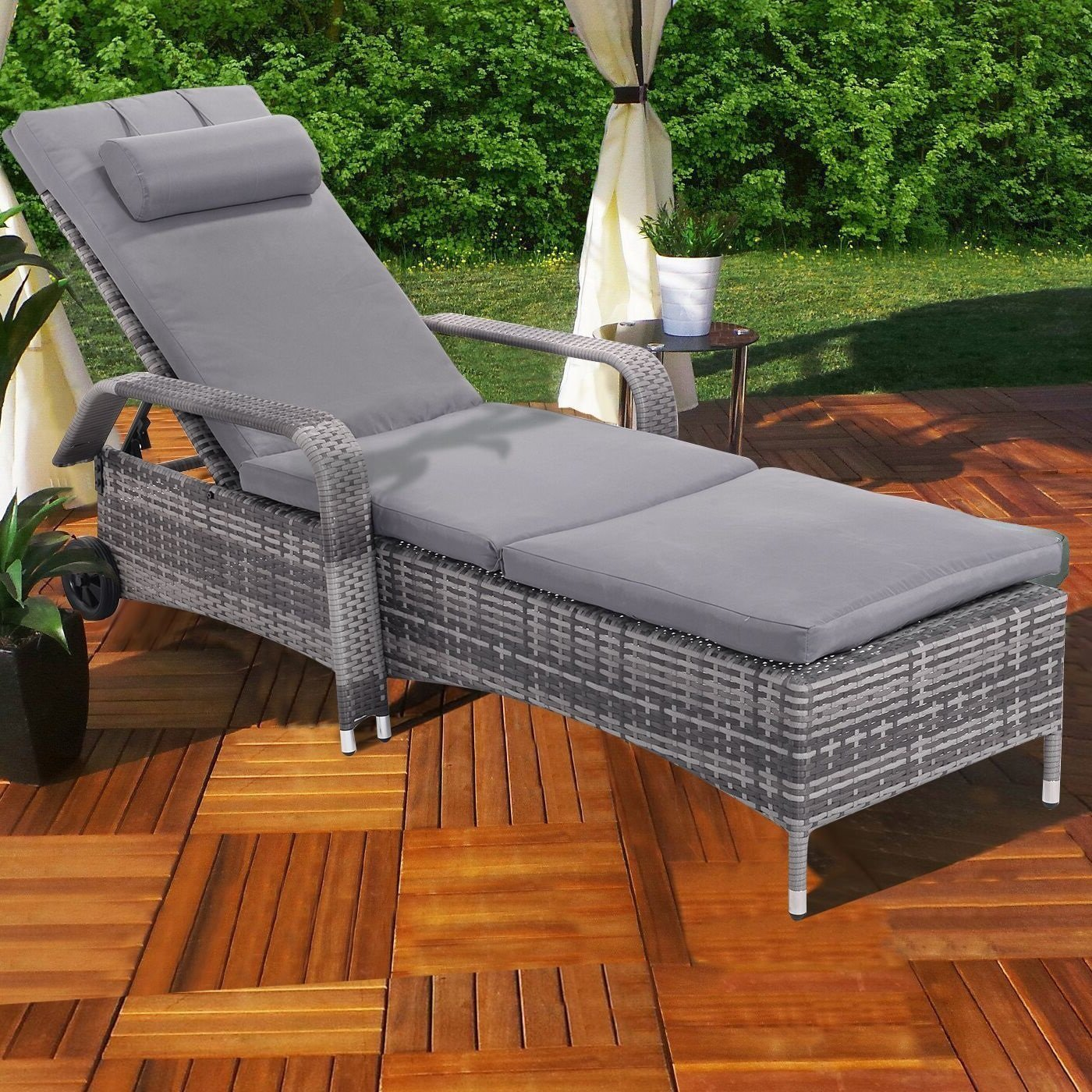 """6 Height position & 2 Wheels ,Outdoor Chaise Lounge Chair , C ushioned Patio Furni Adjustable ,82.6""""Lx30.0""""Wx12.8""""-39.5""""H"""