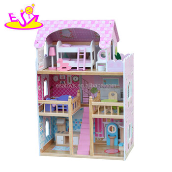 New Design Big Size Pink Wooden Baby Doll House For Girls W06a163b