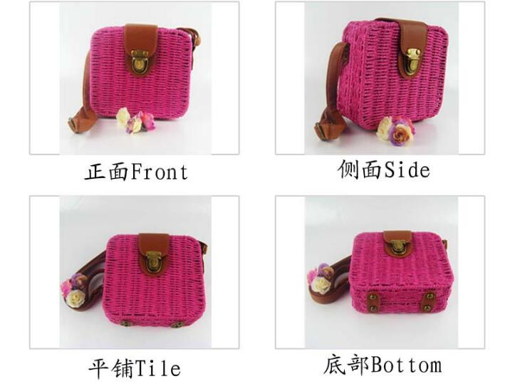 Hot Sale Special Crochet Grass Slanted Candy Color Bag For Women