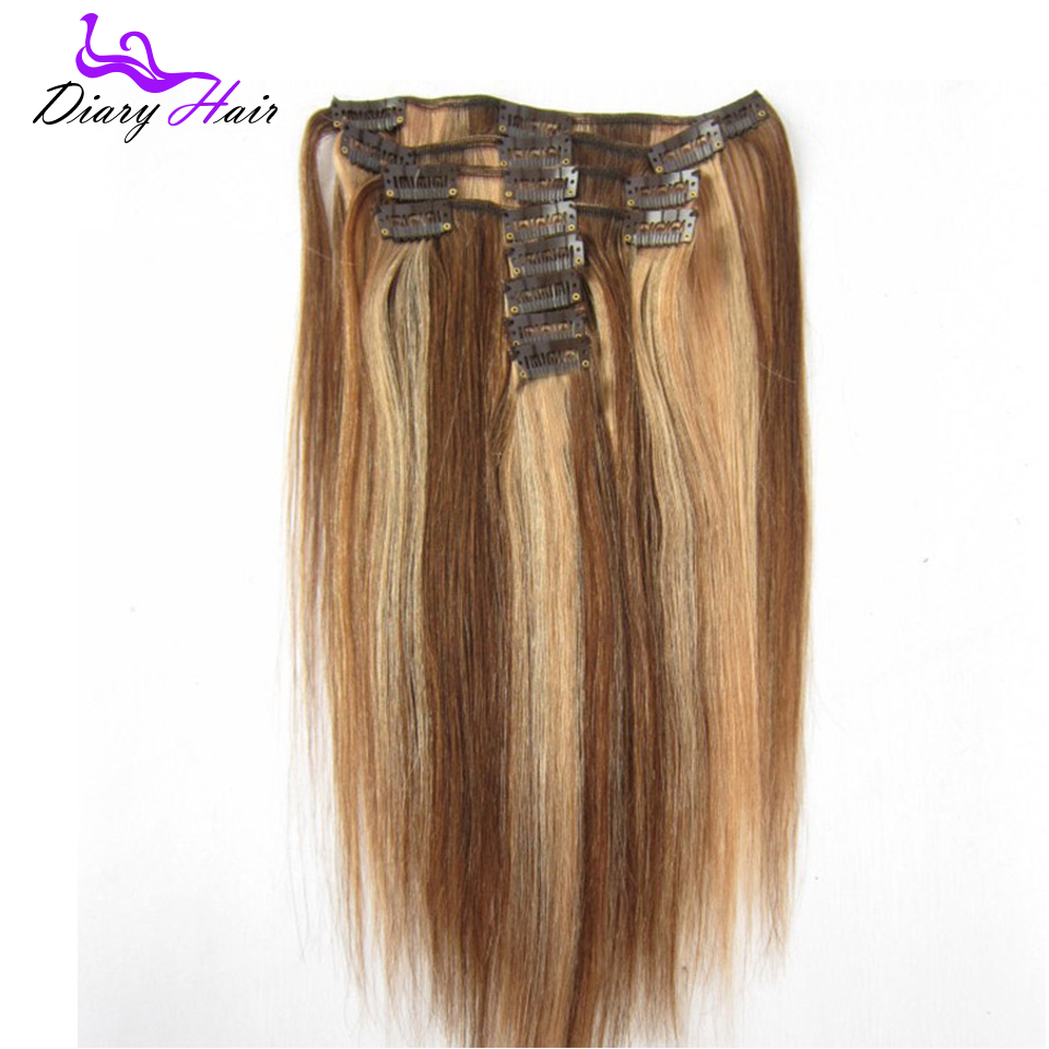 "16 18"" 20"" 22"" 70g  Peruvian Clip in Human Hair Extensions #4/27brown&Blonde Highlighted Mixed Color remy Hair 9pcs/set in stock"
