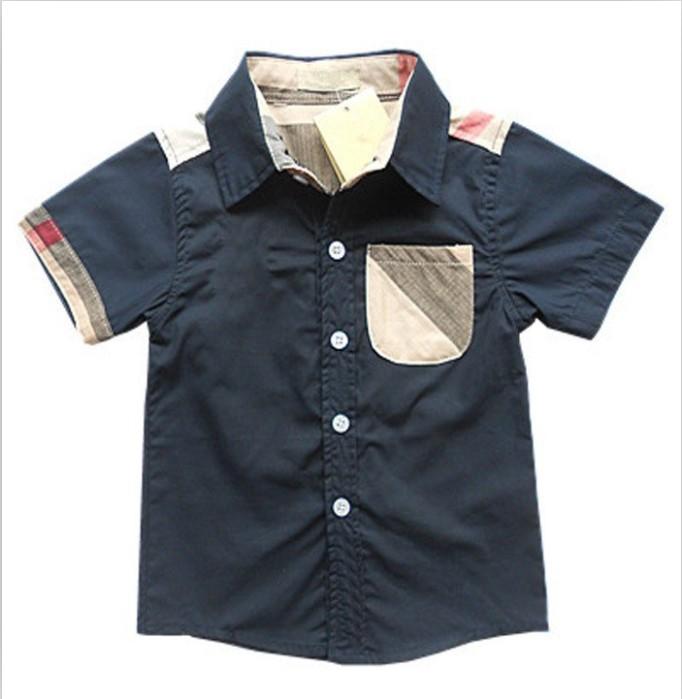 Boys shirts lovely cotton short sleeves shirts boy shirts England style kids clothes high quality plaid