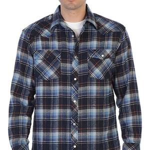 Wholesale 100% Cotton tight fit style Checked Shirt Custom Mens Flannel Shirt