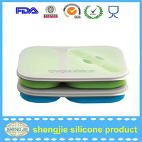 2015 wholesale silicone lunbox for kids with two compartment 100% food grade food containers