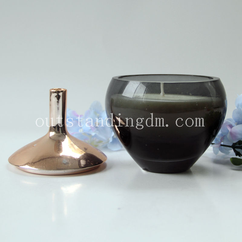New product 2017 cover glass candle holder of ISO9001 Standard