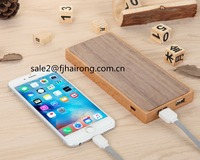 2017 High quality cheap price 10000MAH wooden wireless power bank with cell phone holder,2 in 1 portable wireless power bank