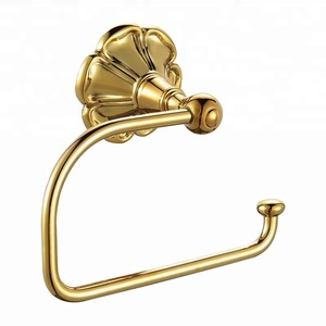 Toilet Paper Holder, Angle Simple Brass Bathroom Toilet Kitchen Use Wall mounted, Gold