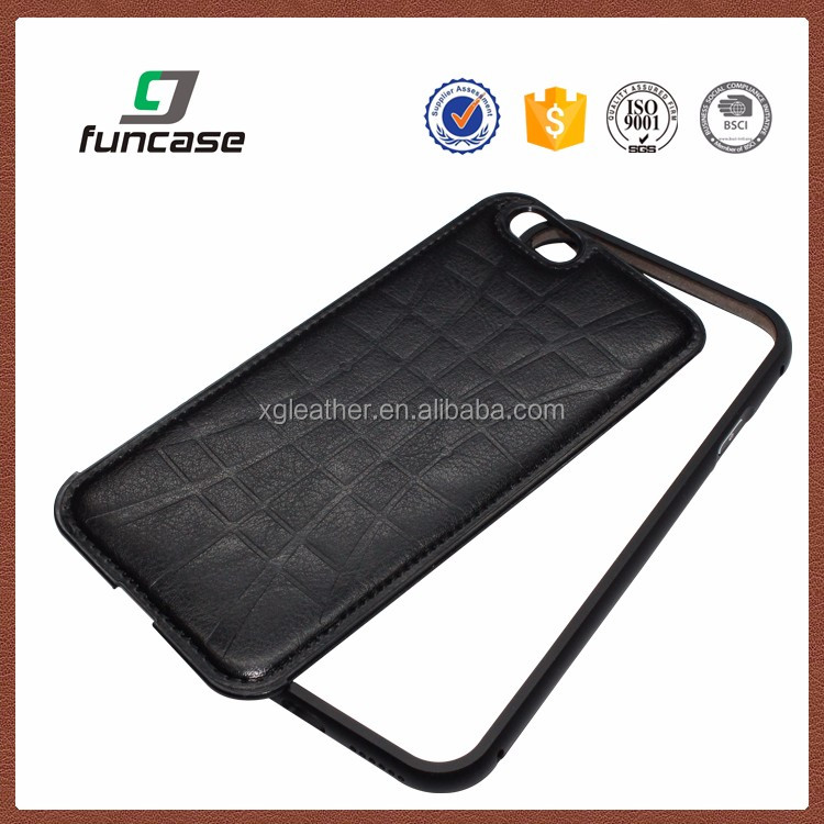 leather mobile phone case Back Cover PU Leather case with Aluminum Metal Frame for Iphone 6S plus