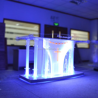 special price clear acrylic glass church pulpit with LED RGB
