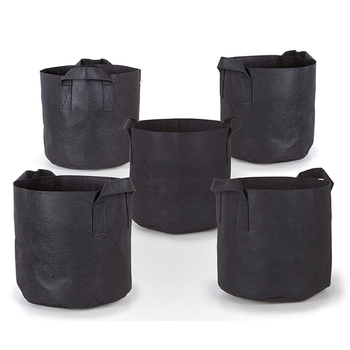 Garden non-woven fabric plant growing pot bag with handle