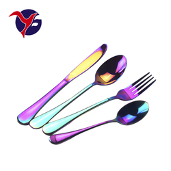 new year gift royal dinner set rainbow pvd coating spoons fork 18/10 stainless steel cutlery set