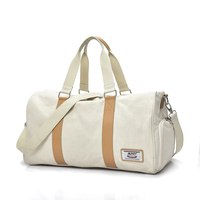 Wholesale white duffle weekend canvas women gym bag with shoes travel duffel bag