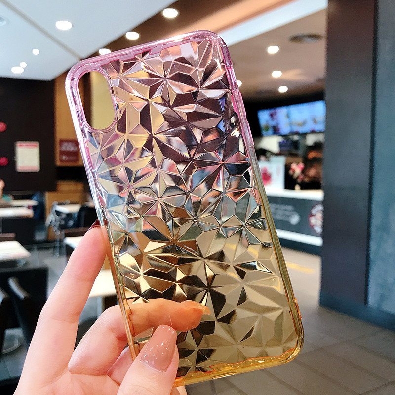 Haissky Wholesale 3D Diamond Soft Gel Colorful Shockproof Phone Case For iPhone 6 7 8 X universal Case Crystal <strong>Cover</strong>