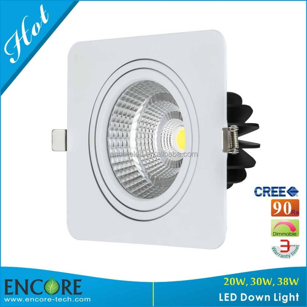 38W Square LED Downlight Black +White
