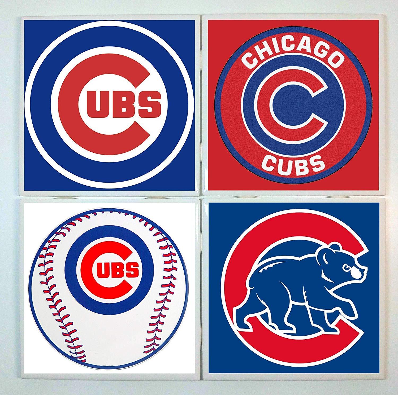 Chicago Cubs Coasters - set of 4 tile coasters - baseball