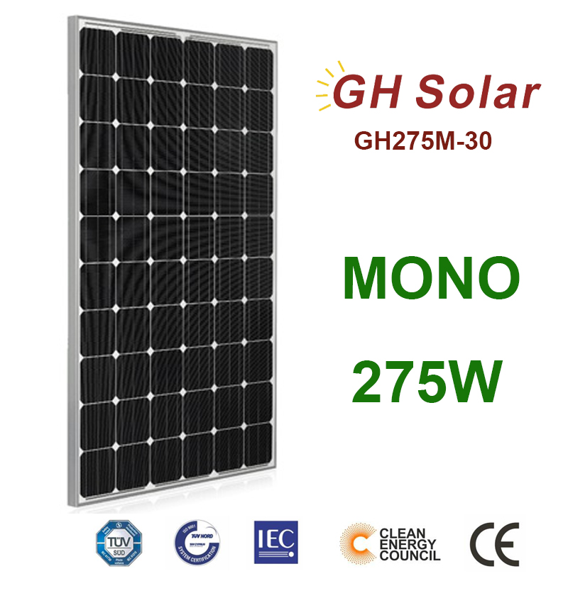 High efficency 275w solar panels black monocrystalline for solar system