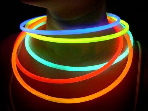 """Glow Sticks Bulk Wholesale Necklaces, 100 22"""" Glow Stick Necklaces Assorted +100 FREE Glow Bracelets BONUS, Superior Glow With Us Brand"""