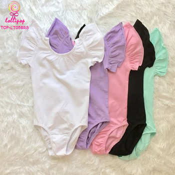 Wholesale Solid Color Child Girls Gymnastics Leotards Unitard Ballet Costume Cotton Kid Flutter Sleeve Leotards For Dance Wear