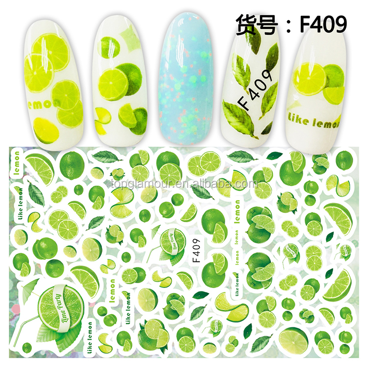 F409-418 2019 New Design Lemon Design Nail Art Stickers 2D Self-adhesive Nail Decoration for Girls, Colorful