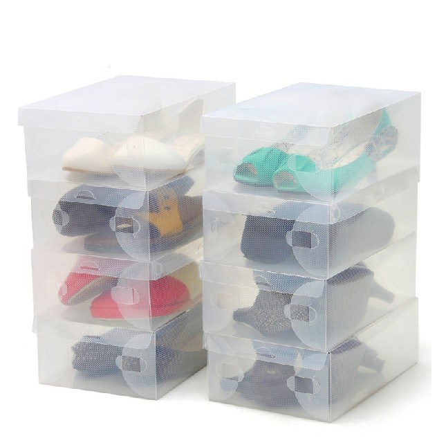 Get Quotations · High Quality 10pcs/lot Foldable Plastic Shoe Storage Case  Boxes Stackable Organizer Shoe Holder Easy