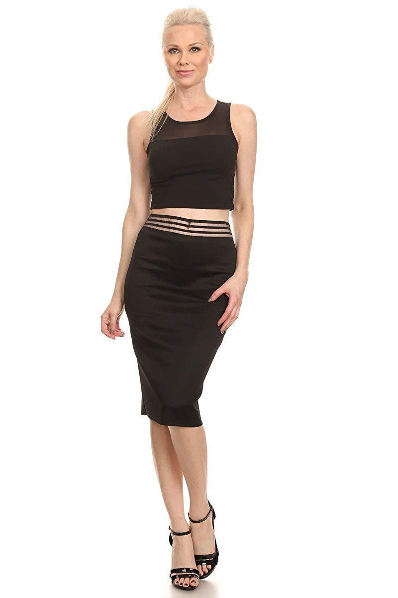 Zeagoo Womens Above The Knee Elastic Waist Work Pencil Skirt