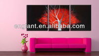 Triptych abstract pictures of trees paintings on black canavs