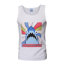 Cartoon shark 3D digital printed tank tops plus size gym vest