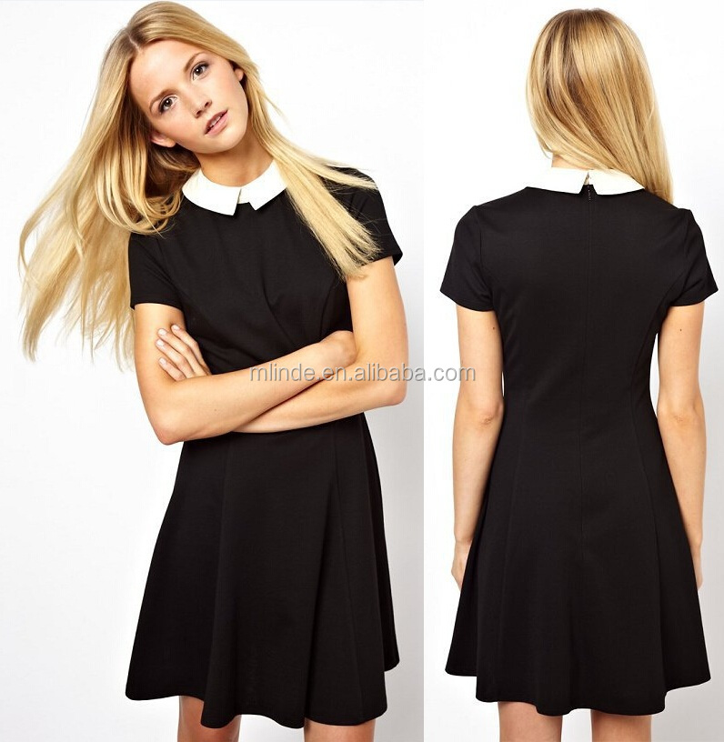 Latest Formal Dress Patterns Short Sleeve Mini Black Party Dress