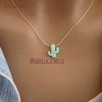 NM21732 Gold Silver Lariat Chains Cactus Opal Necklace Southwestern Jewelry Green Tree Cactus Boho Necklace