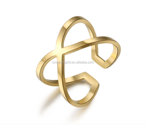 Wholesale cheap price womens cross rings stainless steel gold plated jewelry