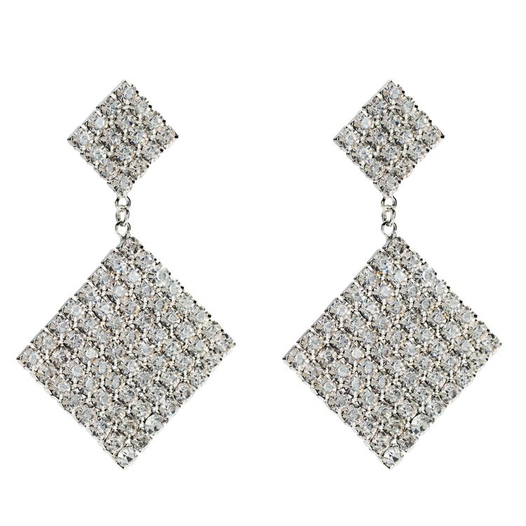 2019 Fashion Bride Earrings Cosmetic Acrylic Square Rhinestone Crystal Drop Earring