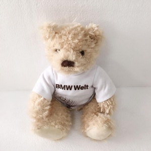 Sweet cute Plush stuffed toys animals teddy bear in clothes with printed words and beans